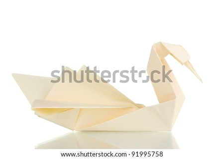Origami paper swan isolated on white