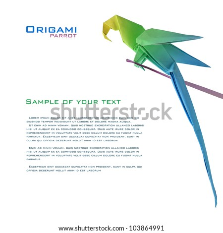 origami parrot on a branch corner corner decoration