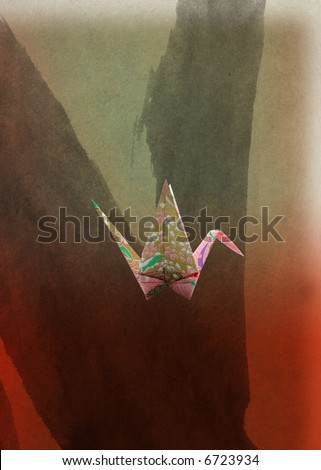 Origami; peace and happiness  crane - stock photo