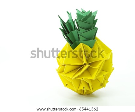 Origami pineapple isolated on white background