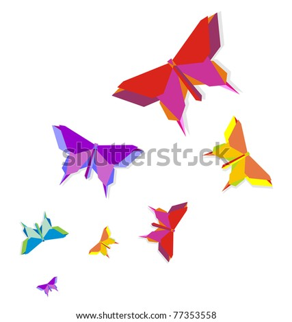 Origami spring butterfly group in vivid color palette.