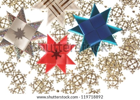 Origami stars postcard on the snowflake garland background
