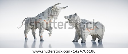Origami style bull and bear - 3D illustration