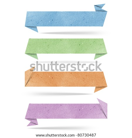 origami tag recycled paper craft stick on white background