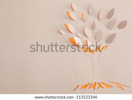 Origami tree - stock photo