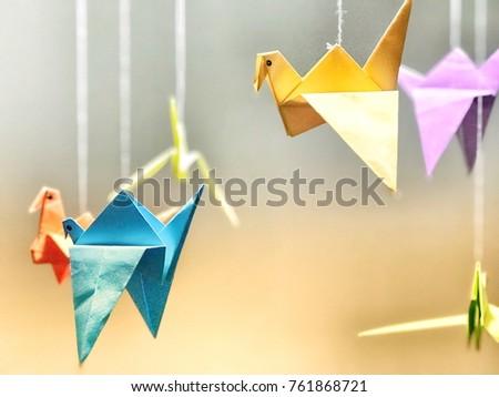 origami with colourful birds... Stok fotoğraf ©