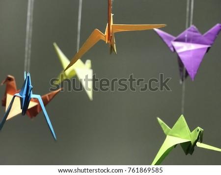 origami with colourful birds Stok fotoğraf ©