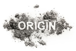 Origin word written in ash, dust, dirt as beginning, genesis, education, knowledge, lineage or birth concept