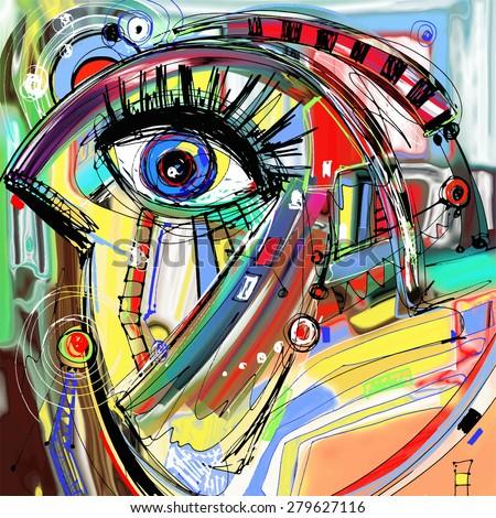 original abstract digital painting artwork of doodle bird, colored poster print pattern,  raster version illustration