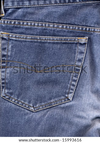 Original American blue jeans trousers back pocket