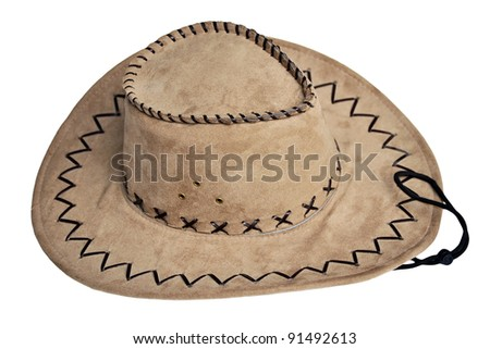 Original american leather cowboy hat isolated on white