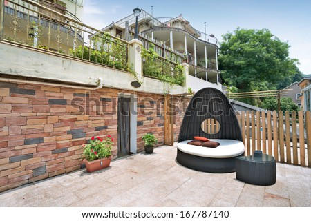 Original and cool covered furniture for the garden.  #167787140