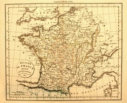 Original Antique Map of France Printed in 1827.