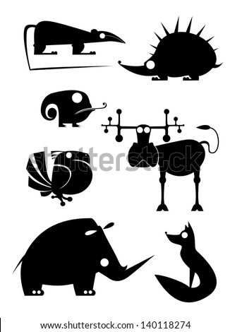 original art animal silhouettes collection for design