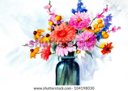 Free photos original art beautiful watercolor painting of flowers original art beautiful watercolor painting of flowers in vase 104198030 mightylinksfo