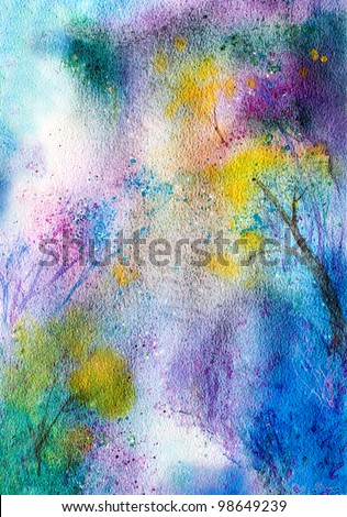 original art watercolor painting abstract nature background