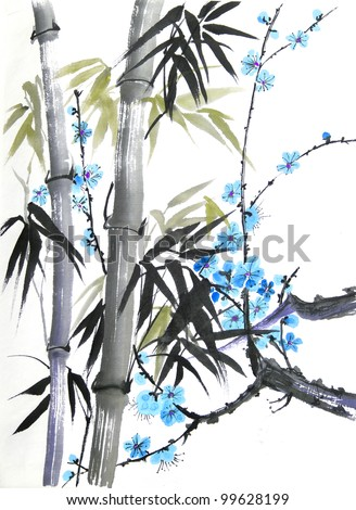 original art, watercolor painting of bamboo and blossoms in oriental style