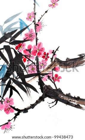 original art, watercolor painting of bamboo and plum blossoms, in oriental style