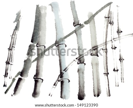 original art, watercolor painting of bamboo forest on white
