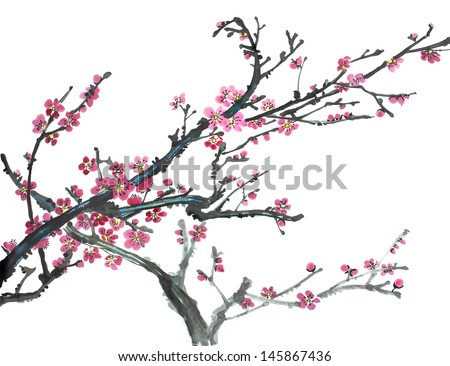 original art, watercolor painting of blossoming plum tree, traditional Chinese style painting