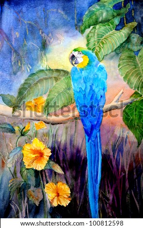 original art, watercolor painting of blue and gold parrot