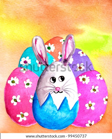 original art, watercolor painting of bunny rabbit with colorful Easter eggs