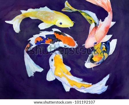 original art, watercolor painting of colorful koi swimming