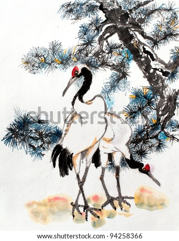 original art, watercolor painting of cranes in front of pine tree, Asian style
