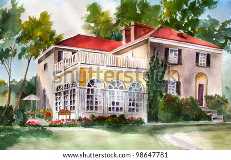 original art, watercolor painting of farmhouse with red roof