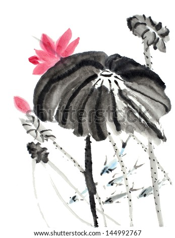 original art, watercolor painting of fish and aquatic plants, Chinese style