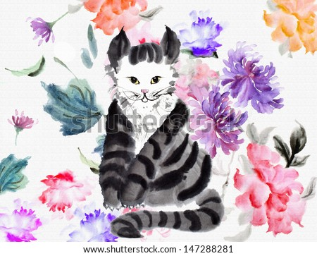 original art, watercolor painting of kitten in garden of roses and chrysanthemums