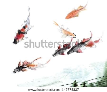 original art, watercolor painting of koi swimming