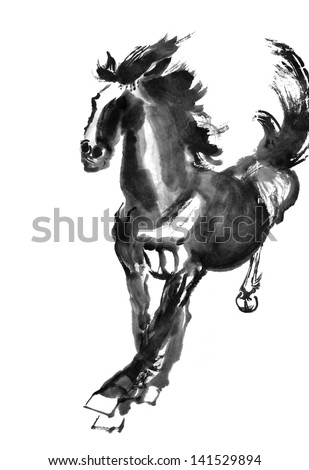 original art watercolor painting of oriental style horse