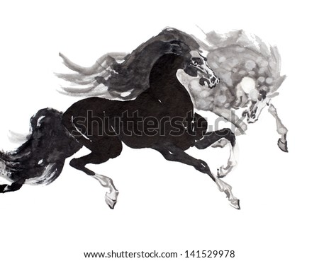 original art watercolor painting of oriental style horses in motion