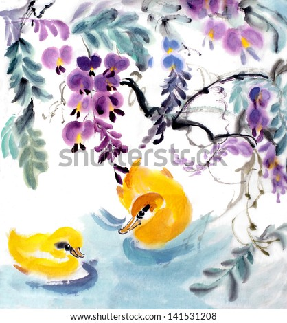 original art watercolor painting of oriental style yellow birds swimming under hanging flowers