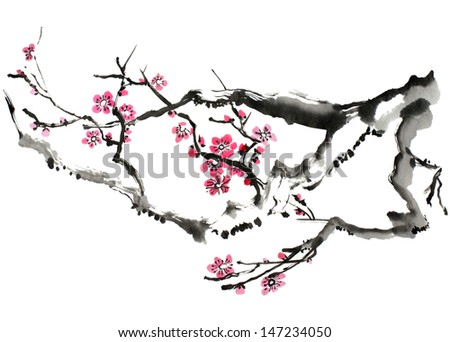 original art, watercolor painting of plum tree branch in bloom