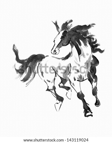 original art, watercolor painting of running horse, Asian style painting