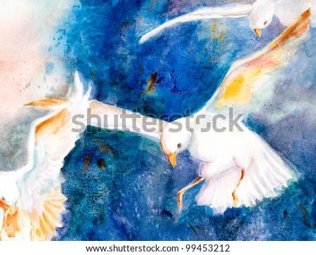 original art, watercolor painting of seagulls in flight