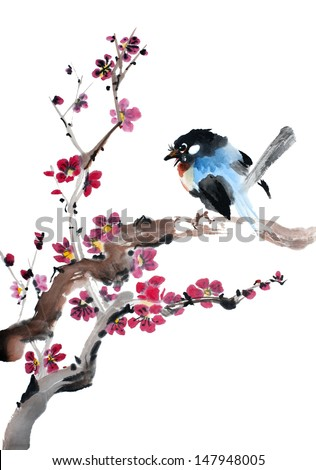 original art, watercolor painting of song bird on blossoming plum tree branch