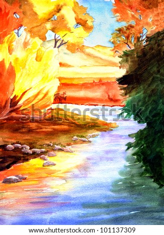 original art, watercolor painting of stream in fall