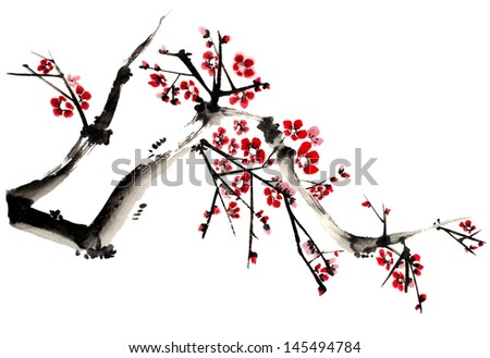 original art, watercolor painting of tree branch in full bloom