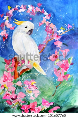 original art, watercolor painting of tropical cockatoo bird and pink flowers