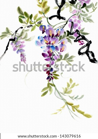 original art watercolor painting of wisteria blossoms Asian style painting