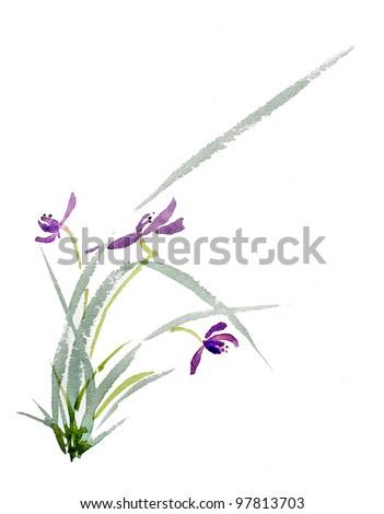 original art, watercolor painting, oriental style purple flower