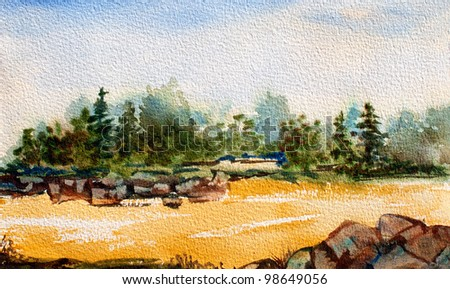 original art, watercolor painting, trees and rocks by stream