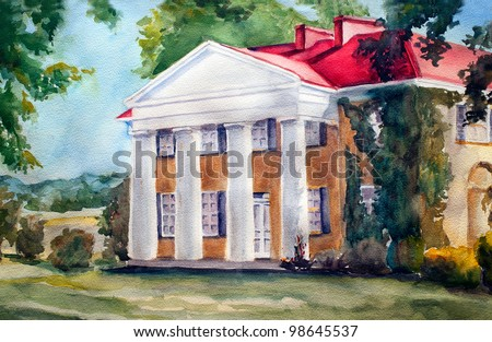 original art, watercolor painting, yellowfarm house with columns and red roof