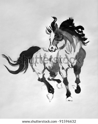 original artwork, Chinese brushwork painting of wild horse, concept freedom