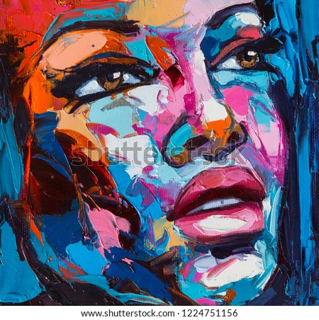Original artwork. Noone in particular portrait, fantasy woman. Colorful emotion on a canvas.