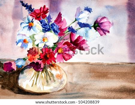 original artwork, watercolor painting of summer flowers in glass vase
