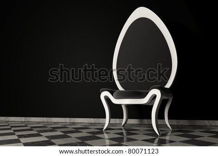 Original black and white armchair on a marble floor and a black wall behind